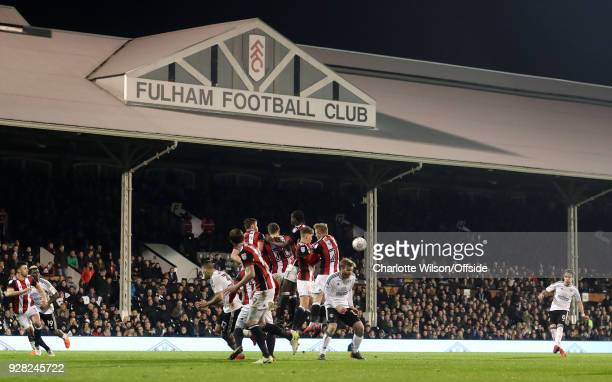 Stefan Johansen of Fulham sees his freekick rebound off the Sheffield United wall during the Sky Bet Championship match between Fulham and Sheffield...
