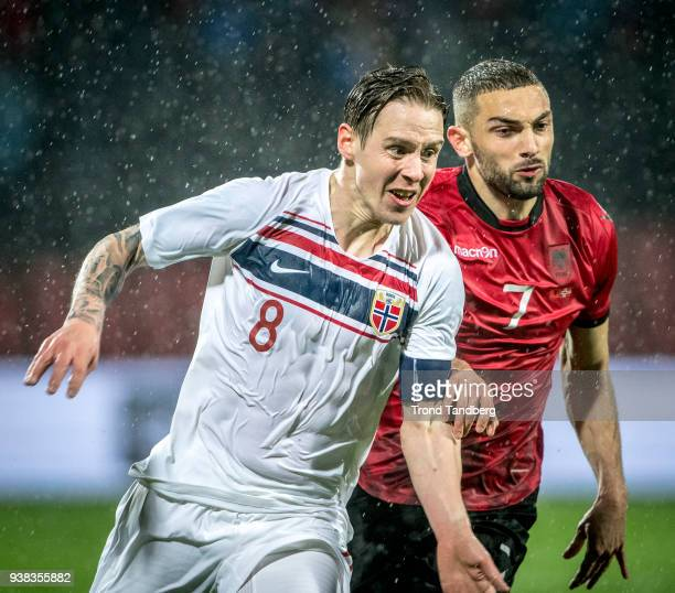 Stefan Johansen of Norway Eros Grezda of Albania during International friendly match between Albania and Norway on March 26 2018 at Elbasan Arena in...