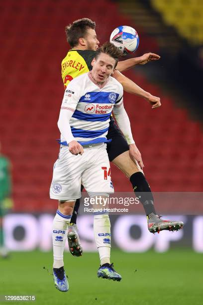 Stefan Johansen of QPR battles for possession with in the air with Tom Cleverley of Watford FC during the Sky Bet Championship match between Watford...