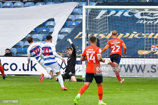 Stefan Johansen of QPR shoots at goal and score his teams second goal during the Sky Bet Championship match between Queens Park Rangers and Luton...