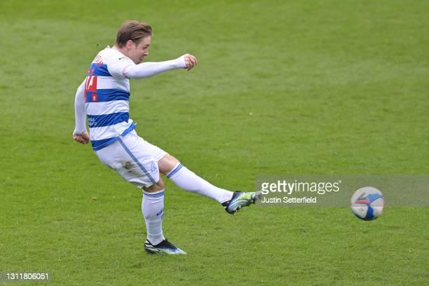 Stefan Johansen of Queens Park Rangers scores their team's second goal during the Sky Bet Championship match between Queens Park Rangers and...