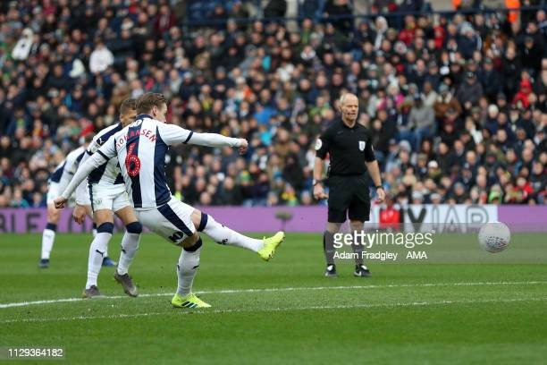 Stefan Johansen of West Bromwich Albion scores a goal to make it 10 from a free kick during the Sky Bet Championship match between West Bromwich...