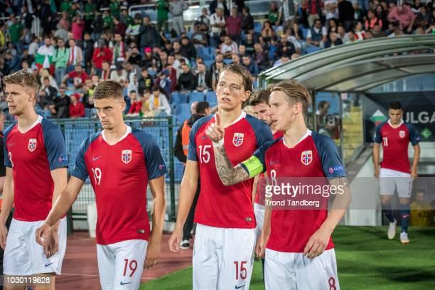 Stefan Johansen Sander Berge Markus Henriksen Kristoffer Ajer of Norway during the UEFA Nations League C group three match between Bulgaria and...