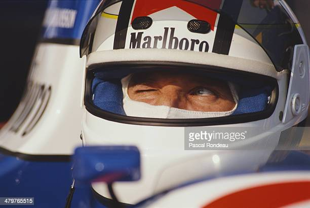 Stefan Johansson of Sweden sits aboard the Moneytron Onyx Onyx ORE-1 Ford Cosworth DFR V8 during the Mexican Grand Prix on 28th May 1989 at the...