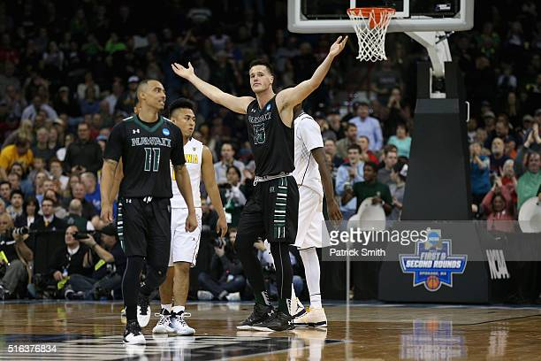 Stefan Jovanovic of the Hawaii Warriors celebrates in the closing seconds of the Warriors 7766 win over the California Golden Bears during the first...