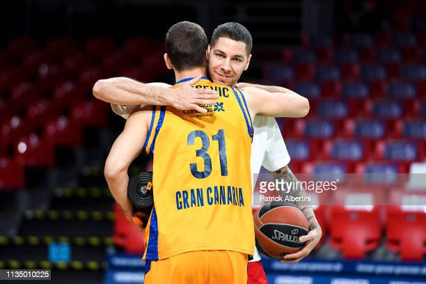 Stefan Jovic #16 of FC Bayern Munich and Nikola Racidevic #31 of Herbalife Gran Canaria before the 2018/2019 Turkish Airlines EuroLeague Regular...