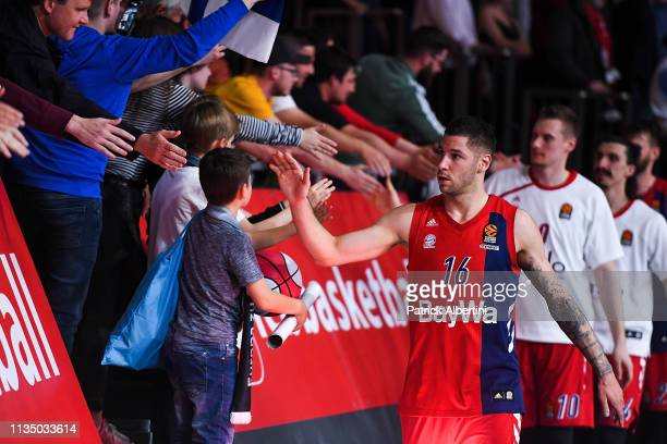 Stefan Jovic #16 of FC Bayern Munich at the end of the 2018/2019 Turkish Airlines EuroLeague Regular Season Round 30 game between FC Bayern Munich...