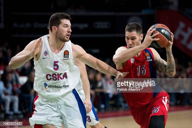 Stefan Jovic #16 of FC Bayern Munich competes with Alec Peters #5 of CSKA Moscow during the 2018/2019 Turkish Airlines EuroLeague Regular Season...