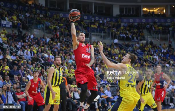 Stefan Jovic #16 of FC Bayern Munich in action during the 2018/2019 Turkish Airlines EuroLeague Regular Season Round 5 game between Fenerbahce...