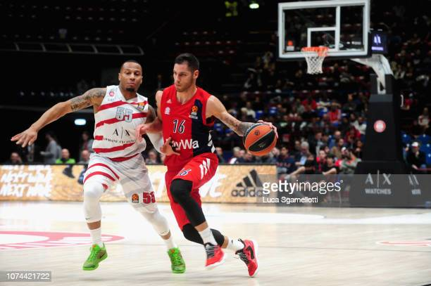 Stefan Jovic #16 of FC Bayern Munich in action during the 2018/2019 Turkish Airlines EuroLeague Regular Season Round 13 game between AX Armani...