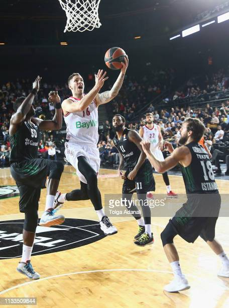 Stefan Jovic #16 of FC Bayern Munich in action during the 2018/2019 Turkish Airlines EuroLeague Regular Season Round 29 game between Darussafaka...