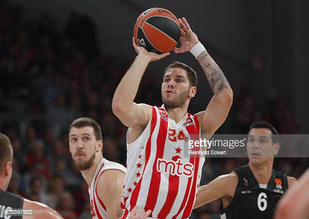 Stefan Jovic #24 of Crvena Zvezda mts Belgrade in action during the 2016/2017 Turkish Airlines EuroLeague Regular Season Round 7 game between Brose...