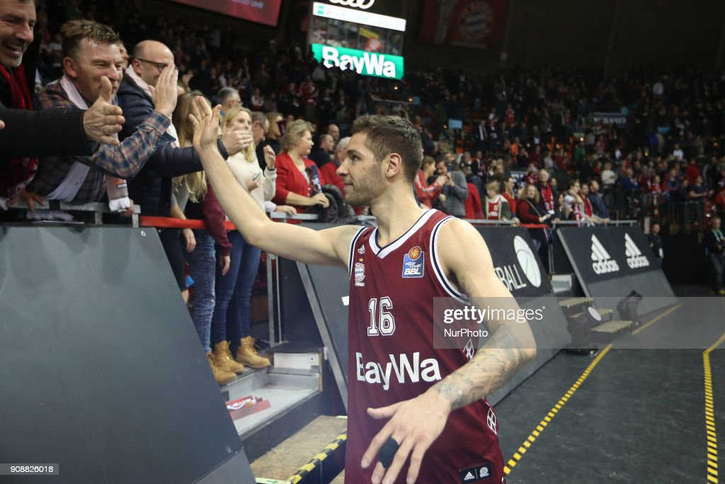 Stefan Jovic of Bayern Muenchen after the Quarterfinal match in the BBL Pokal 2017/18 between FC Bayern Basketball and Brose Baskets Bamberg at the Audi Dome on January 21,2018.