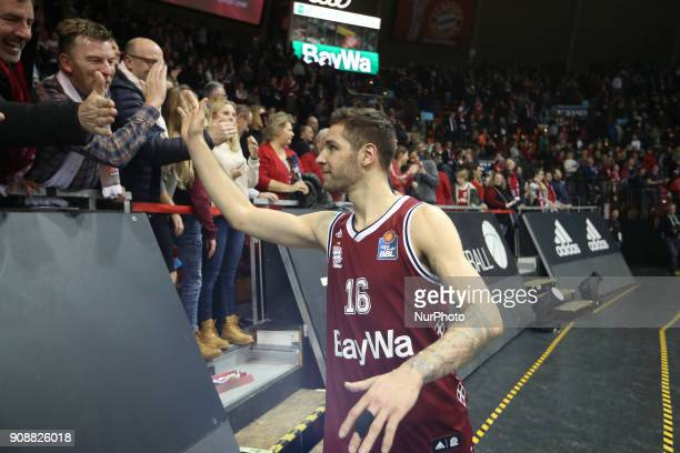 Stefan Jovic of Bayern Muenchen after the Quarterfinal match in the BBL Pokal 2017/18 between FC Bayern Basketball and Brose Baskets Bamberg at the...