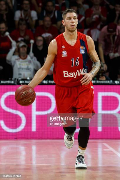 Stefan Jovic of FC Bayern Muenchen controls the ball during the easyCredit BBL match between FC Bayern Muenchen and Alba Berlin at Audi Dome on...
