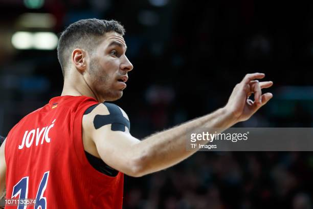 Stefan Jovic of FC Bayern Munich gestures during the Turkish Airlines EuroLeague match between FC Bayern Munich and Khimki Moscow Region at on...