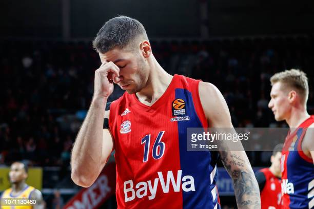 Stefan Jovic of FC Bayern Munich looks on during the Turkish Airlines EuroLeague match between FC Bayern Munich and Khimki Moscow Region at on...