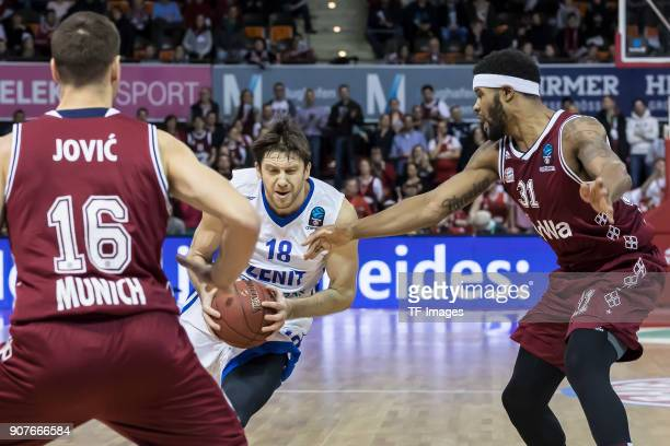 Stefan Jovic of Muenchen Devin Booker of Muenchen and Evgeny Voronov of St Petersburg battle for the ball during the EuroCup Top 16 Round 3 match...