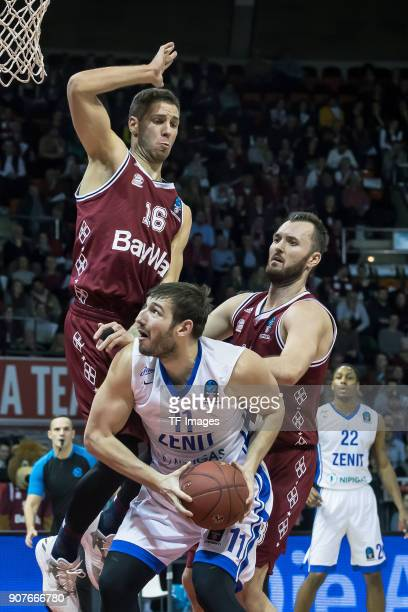 Stefan Jovic of Muenchen Milan Macvan of Muenchen and Nikita Barinov of St Petersburg battle for the ball during the EuroCup Top 16 Round 3 match...