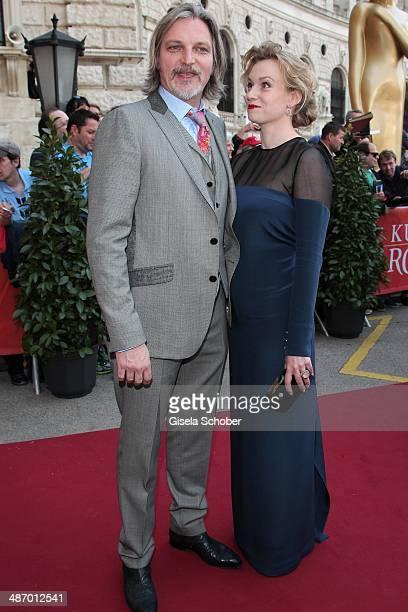 Stefan Juergens and his girlfriend Helene Stupnicki attend the 25th Romy Award 2014 at Hofburg Vienna on April 26 2014 in Vienna Austria