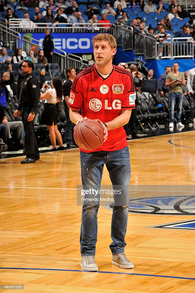 Stefan Kiebling of Bayer Leverkusen shoots a three pointer during half time of the Houston Rockets and the Orlando Magic on January 14, 2015 at Amway Center in Orlando, Florida.