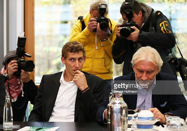 Stefan Kiessling and Manager Rudi Voeller of Bayer Leverkusen attend the DFB Federal Court proceeding at DFB headquarters on October 28 2013 in...