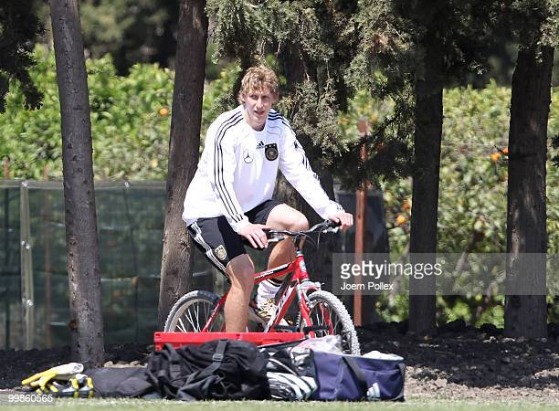 Stefan Kiessling of Germany rides a bike prior to the German National Team training session at Verdura Golf and Spa Resort on May 18 2010 in Sciacca...