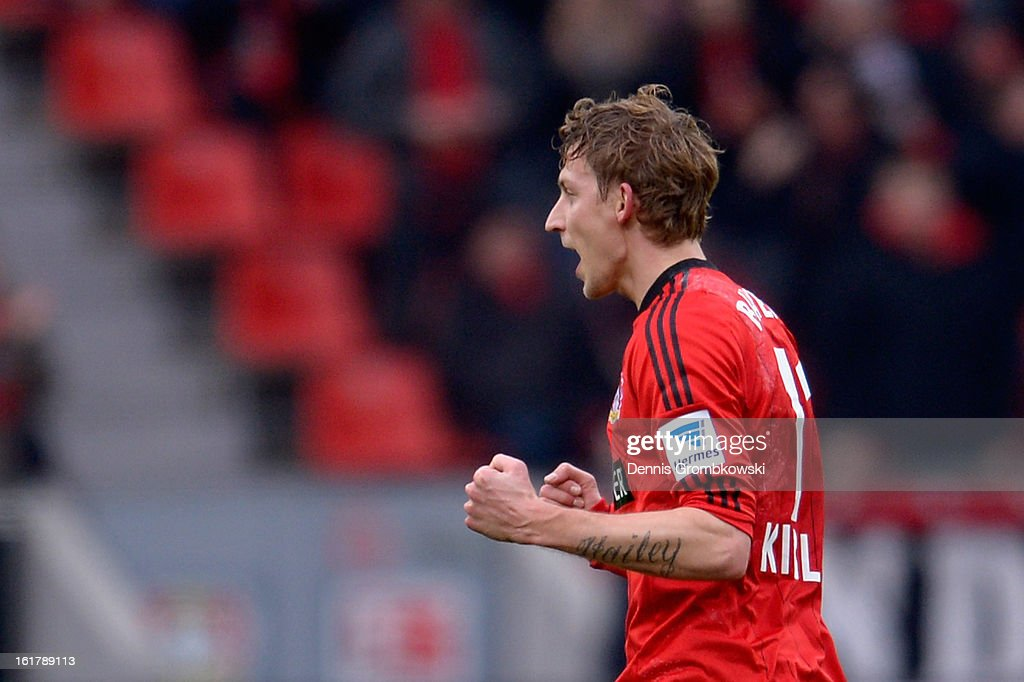 Stefan Kiessling of Leverkusen celebrates after scoring his team's first goal during the Bundesliga match between Bayer 04 Leverkusen and FC Augsburg at BayArena on February 16, 2013 in Leverkusen, Germany.