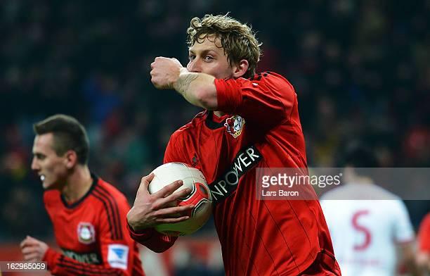 Stefan Kiessling of Leverkusen celebrates after scoring his teams first goal during the Bundesliga match between Bayer 04 Leverkusen and VfB...