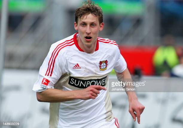Stefan Kiessling of Leverkusen celebrates during the Bundesliga match between 1 FC Nuernberg and Bayer 04 Leverkusen at Easy Credit Stadium at Easy...