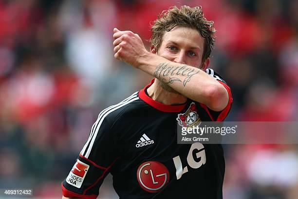 Stefan Kiessling of Leverkusen celebrates his team's second goal during the Bundesliga match between 1 FSV Mainz 05 and Bayer 04 Leverkusen at Coface...