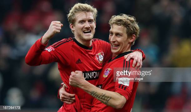 Stefan Kiessling of Leverkusen celebrates scoring the first goal with Andre Schuerrle during the Bundesliga match between Bayer 04 Leverkusen and 1...