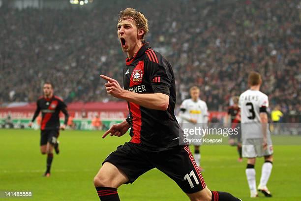 Stefan Kiessling of Leverkusen celebrates the first goal during the Bundesliga match between Bayer 04 Leverkusen and Borussia Moenchengladbach at...