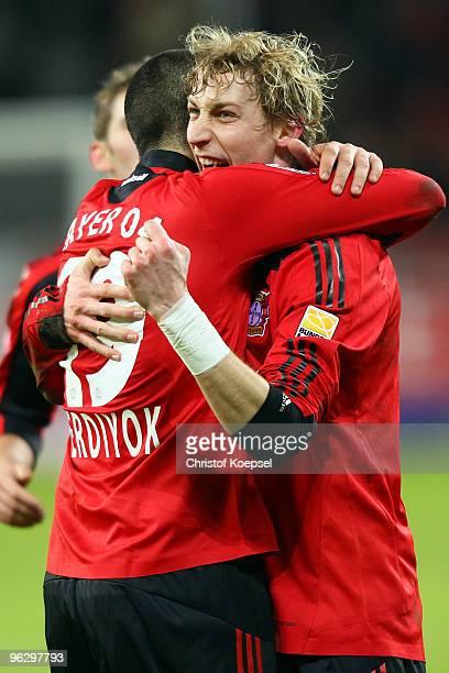 Stefan Kiessling of Leverkusen celebrates the first goal with Eren Derdiyok of Leverkusen during the Bundesliga match between Bayer Leverkusen and SC...