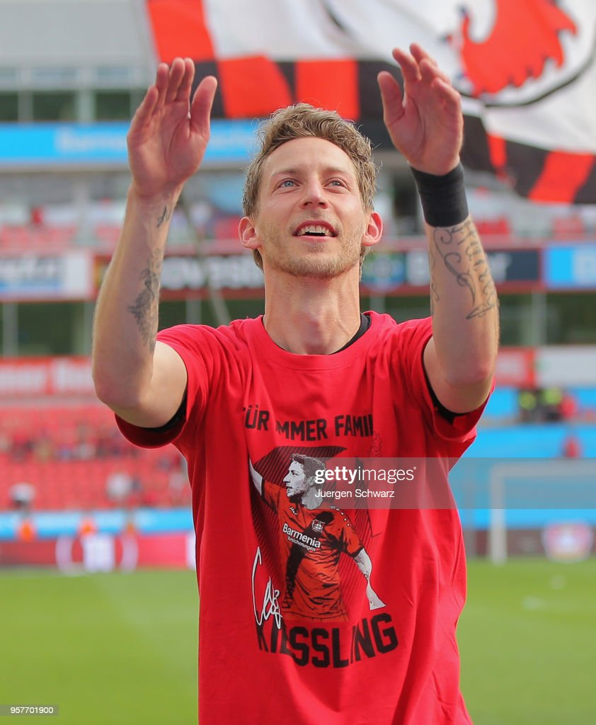 Stefan Kiessling of Leverkusen claps his hands near supporters during the Bundesliga match between Bayer 04 Leverkusen and Hannover 96 at BayArena on May 12, 2018 in Leverkusen, Germany.