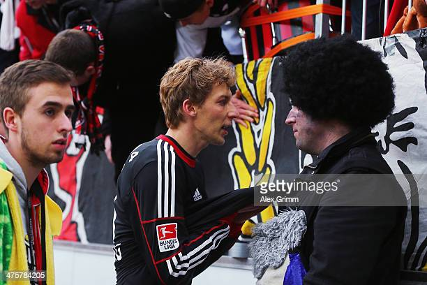 Stefan Kiessling of Leverkusen discusses with the fans after the Bundesliga match between Bayer 04 Leverkusen and 1 FSV Mainz 05 at BayArena on March...