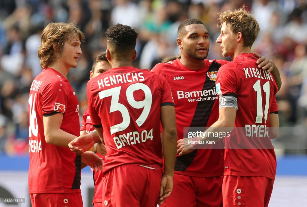 Stefan Kiessling (R) of Leverkusen jubilates with team mates after scoring the fourth goal during the Bundesliga match between Hertha BSC and Bayer 04 Leverkusen at Olympiastadion on May 20, 2017 in Berlin, Germany.