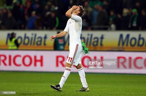 Stefan Kiessling of Leverkusen looks dejected after the Bundesliga match between VfL Wolfsburg and Bayer 04 Leverkusen at Volkswagen Arena on...