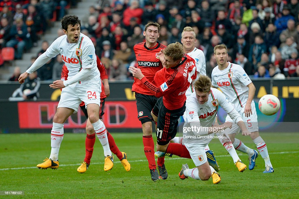 Stefan Kiessling of Leverkusen scores his team's first goal during the Bundesliga match between Bayer 04 Leverkusen and FC Augsburg at BayArena on February 16, 2013 in Leverkusen, Germany.
