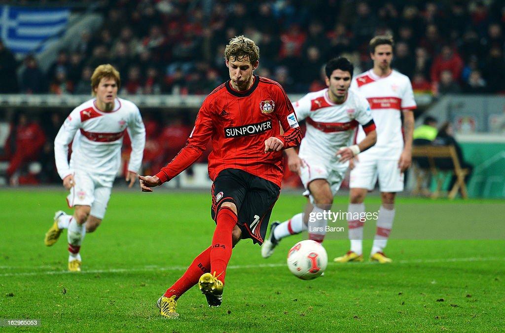 Stefan Kiessling of Leverkusen scores his teams first goal during the Bundesliga match between Bayer 04 Leverkusen and VfB Stuttgart at BayArena on March 2, 2013 in Leverkusen, Germany.