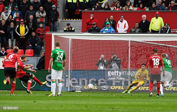Stefan Kiessling of Leverkusen scores his team's first goal during the Bundesliga match between Bayer 04 Leverkusen at SV Werder Bremen at BayArena...