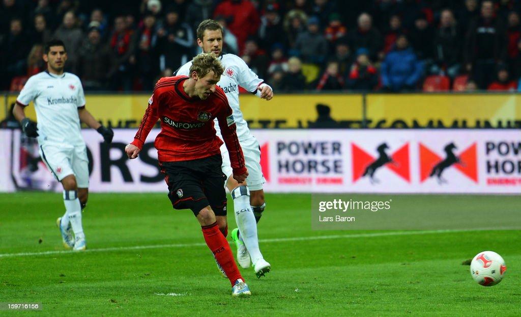 Stefan Kiessling of Leverkusen scores his teams second goal during the Bundesliga match between Bayer 04 Leverkusen and Eintracht Frankfurt at BayArena on January 19, 2013 in Leverkusen, Germany.