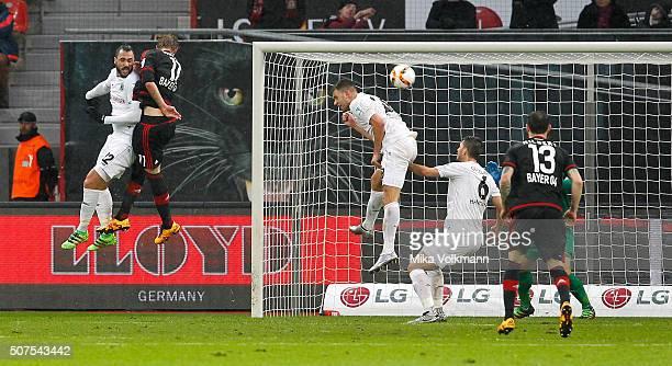 Stefan Kiessling of Leverkusen scores the 10 goal against Hugo Almeida of Hannover during the Bundesliga match between Bayer Leverkusen and Hannover...