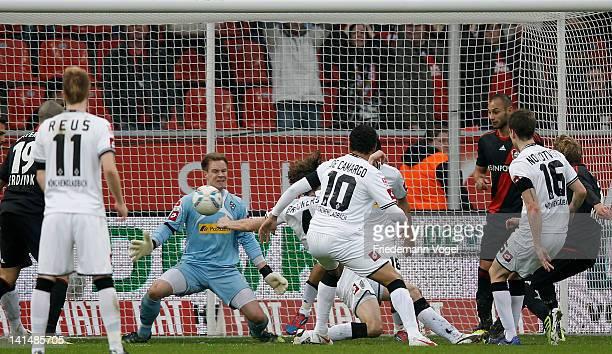 Stefan Kiessling of Leverkusen scoring the first goal during the Bundesliga match between Bayer 04 Leverkusen and Borussia Moenchengladbach at...