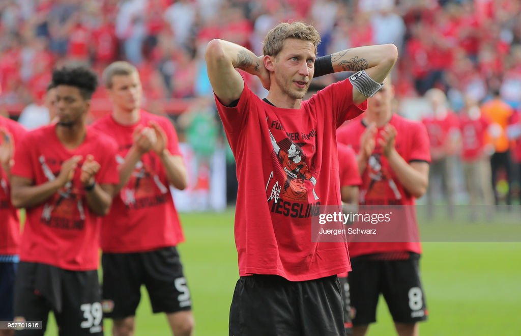 Stefan Kiessling of Leverkusen stands in front of supporters after his farewell at the Bundesliga match between Bayer 04 Leverkusen and Hannover 96 at BayArena on May 12, 2018 in Leverkusen, Germany.