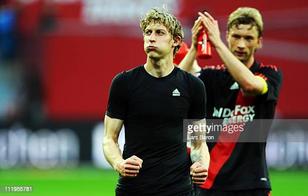 Stefan Kiessling of LEverkusen who scored the first goal for his team celebrates after winning the Bundesliga match between Bayer Leverkusen and FC...