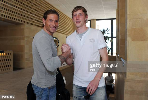 Stefan Kiessling welcomes Tim Wiese at hotel Rocco Forte Verdura Golf Spa Resort during his arrival on May 17 2010 in Sciacca Italy
