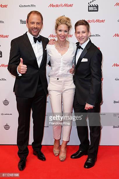 Stefan Kiwit, Nina-Friederike Gnaedig and Justus Kiwit attend the 99Fire-Film-Award 2016 at Admiralspalast on February 18, 2016 in Berlin, Germany.