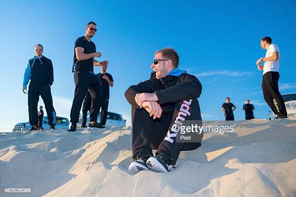 Stefan Kneer Jens Schoengarth Michael Mueller Steffen Weinhold and Patrick Groetzki are seen during the Germany Qatar Desert Tour on January 23 2015...
