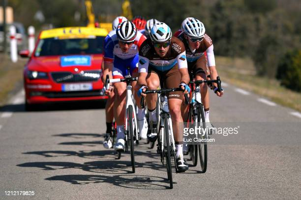 Stefan Küng of Switzerland and Team Groupama - FDJ / Alexis Gougeard of France and Team AG2R La Mondiale / Romain Bardet of France and Team AG2R La...